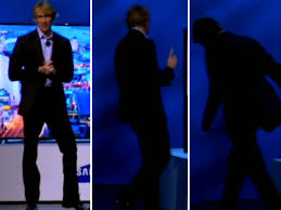 Michael Bay leaving the stage