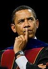 Obama finger to mouth