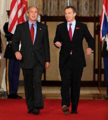 Bush and Blair power walking
